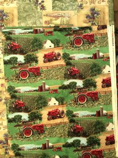 AN INTERNATIONAL HARVESTER TRACTORS ON THE FARM STRIPE COTTON FABRIC BY THE YARD
