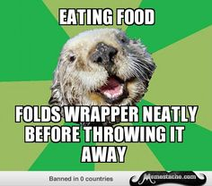 OCD Otter. Candy wrappers, straw wrappers, oh and I neatly fold boxes into a flat state. My parents know...