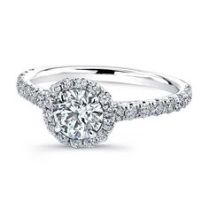 Round Diamond Halo Engagement Rings With Wedding Band 2