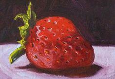 Red Strawberry Fruit Still Life Original Oil por smallimpressions
