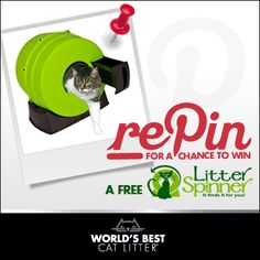 Win a @LitterSpinner! REPIN this for your chance to WIN. Giveaway ends 2/12, 11:59pm. #Worldsbestcatlitter