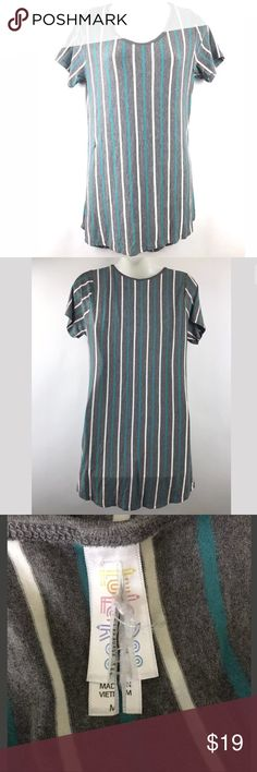 Lularoe Classic T Size Medium Gray Stripes Lularoe Classic T with gray background and blue/white stripes in good clean condition.  Size: Medium LuLaRoe Tops Tunics