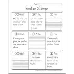 Teaching French, Teaching Writing, Writing Activities, Teaching Kids, Classroom Solutions, School Organisation, French Worksheets, 3rd Grade Writing, Core French