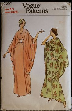Vintage Sewing Pattern 70s Misses Robe or Caftan with Cape-Like Sleeves Vogue 8551 Sz 10