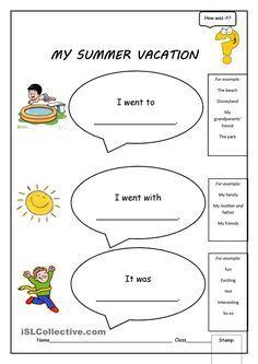 Image Result For My Vacation Worksheet Atividade De Ingles How I Spent Holiday Essay Kids