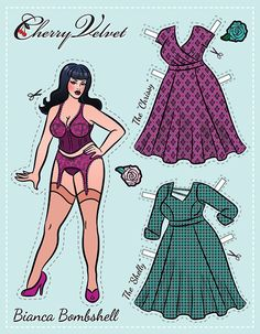 Bianca Bombshell - Cherry Velvet Pin Up Paper Doll - chubby / heavy / overweight / plus-sized