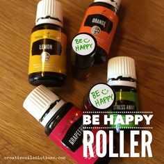 Be Happy Roller - Smile! This little roller is super easy to make and is a staple in my purse. As a quick mood uplifter, this blend of citrus oils and Stress Away is sure to put a pep in your step! :)