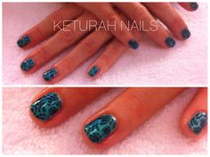 CND Shellac nails hotski to tchotchke with stamping in midnight swim. www.facebook.com/keturahnails