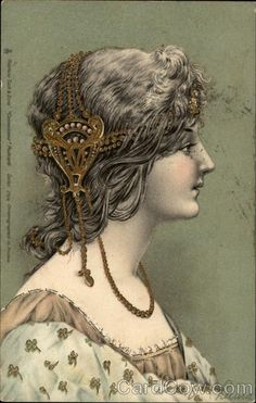 Young woman with fancy jeweled, golden headdress Women