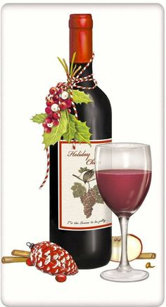 Red Wine Holiday Cheer Christmas 100% Cotton Flour Sack Dish Towel Tea Towel