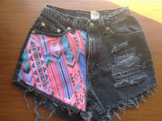 I love Native styles and I especially LOVE that half of the shorts are printed and the other is ripped.  I like that it's mixed with dark and colorful colors.  Fabulous!