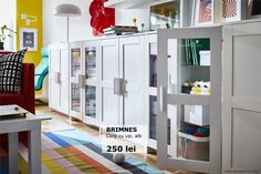 IKEA - BRIMNES, Cabinet with doors, white, Adjustable shelves, so you can customize your storage as needed. Coordinates with other furniture in the BRIMNES series. Glass Cabinet Doors, Glass Door, Glass Shelves, Wall Shelves, White Storage Cabinets, White Cabinet, Ikea Cabinets, Panel Doors, Adjustable Shelving