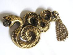 Vintage VICTORIAN REVIVAL Antique Brass Rhinestone RATTLESNAKE Brooch Pin Foxtail Tassel Edwardian Downton Abbey Titanic Gothic Steampunk
