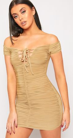 3537067877 Avalyn Ruched Slinky Lace Up Bodycon Mini Dress ♥ Corset