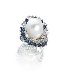 A natural pearl, diamond and sapphire cluster ring, circa 1960