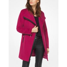 MICHAEL Michael Kors MICHAEL Michael Kors Wool-Blend Belted Coat (€94) ❤ liked on Polyvore featuring outerwear, coats, pink, belted coat, wool blend coat, michael michael kors coat, coat with belt and pink coat