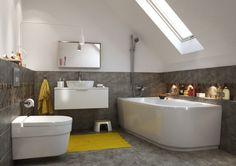 salle de bain en blanc et gris aux accents jaunes