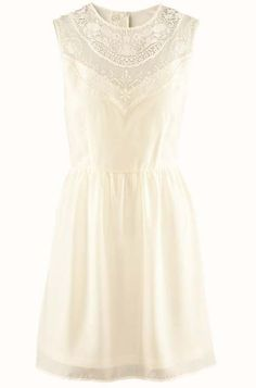 Beige Sleeveless Hollow Lace Chiffon Tank Dress