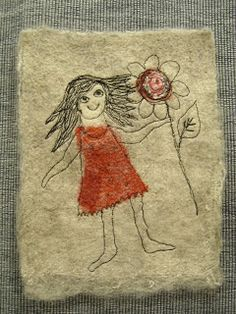 This time I tried some new combinations with embellished grey wool on linen, some small pieces of fabric, wool, pre-felt, yarn and even p. Little Stitch, Moose Art, Wool Felting, Embroidery, Sewing, Rugs, Stitches, Fabric, Cards