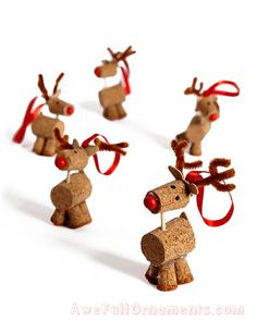 A herd of homemade cork reindeer ornaments