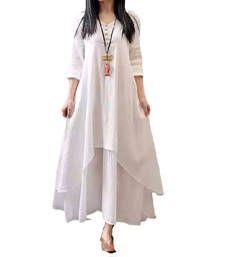 Buy white art silk plain semi stitched kurti party-wear-kurti online