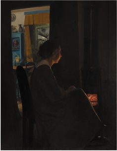 L.A. Ring  (Danish, 1854-08-15 - 1933-09-10)  Twilight. The Artist's Wife 1898 Oil on canvas, 86 x 65.5 cm  (c) National Gallery of DenmarkКаждый выбирает для себя. oddmuse