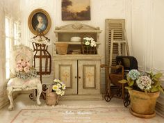 Miniature Shabby Dresser in wood Style 1900 by AtelierMiniature