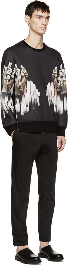 Neil Barrett Black Neoprene Sliced Hercules Sweatshirt