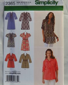 Simplicity 2365 Misses' Tunic in Two Lengths with Front Variations