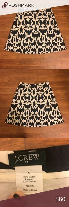 J. Crew Black and White Pattern A Line Skirt J. Crew Black and White Pattern A Line Skirt size 6. In excellent condition, no flaws detected. Comment if you need measurements. Bundle and Save $$ J. Crew Skirts A-Line or Full