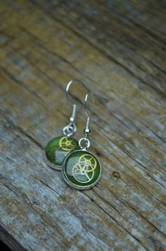 Green Clockwork Hanging Earrings on Etsy, £10.80