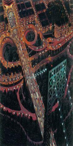 Yvonne Jacquette - George Washington Bridge At Night