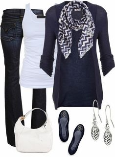 Dark blue cardigan, scarf, white blouse, jeans and white hand bag style for fall