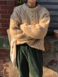 Casual Sweaters, Vintage Sweaters, Baggy Sweater Outfits, Baggy Sweaters, Men Sweater, Mode Outfits, Fall Outfits, Fashion Outfits, Winter Fits