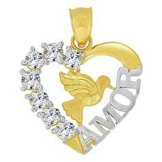 14k Yellow Gold White Rhodium, Heart Pendant Charm Dove Bird AMOR Created CZ Crystals (P063-028)