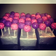 Pink and purple zebra print Cakepops
