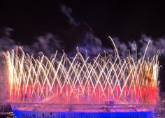 Fireworks shoot towards the night sky above the #London2012 Olympic Stadium during last night's #OpeningCeremony