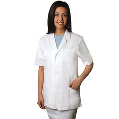 This short-sleeve lab coat from Adar features a classic lapel, three front buttons, a patch pocket at the breast and angled lower pockets. There is a partial belt at the back and reinforced stitch...