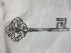 key-tattoo-sketch, maybe with my hubby's initials hidden in the handle and close to my heart