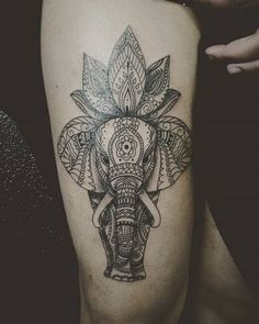 Stunning Lotus and Elephant Tattoo Design for Men.