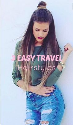 3 Easy Travel Hairstyles - March 21 2019 at Easy Summer Hairstyles, Fancy Hairstyles, Everyday Hairstyles, Hairstyle Ideas, Hair Ideas, Medium Hair Styles, Natural Hair Styles, Short Hair Styles, Cute Updo