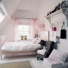 I adore this bedroom. Its air welcoming and what little girl wouldn't think this wasn't her safe pink haven! Love love love....