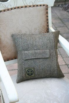 Recycled Suit Jacket pillow cover, 14 in. by Becky Smith (SmokinTweed)