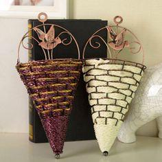 2017 Wholesale pastoral retro vase iron rattan basket flower simulation flower groove wall decoration free shipping