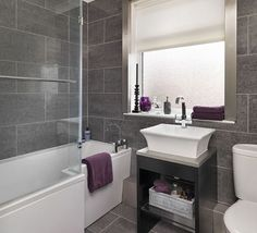 Bathroom Tile Ideas For Small Bathroom We love Bathroom and all the inspiring pics to realize some of your greatest home design.Get Bathroom Tile Ideas For Small Bathroom at News Home. Grey Modern Bathrooms, Grey Bathrooms Designs, Purple Bathrooms, Bathroom Tile Designs, Purple Bathroom Accessories, Contemporary Bathrooms, Bathrooms 2017, Modern Bathtub, Small Bathroom Colors