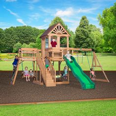 Caribbean Wooden Swing Set