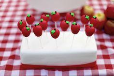 Apple Cake pops by Vanilla Cake Shop...Snow White