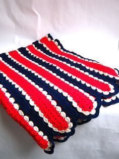 crocheted afghan, interesting stripes pattern!