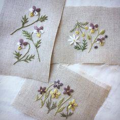 この花が 足元でうつむいていたら 春のお知らせ♪ #スミレ #刺繍 #刺しゅう #春待つ花