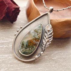 Ramshorn Plume Agate Necklace Silver Leaf Pendant Gemstone